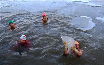 哈尔滨松花江结冰 冬泳爱好者伴冰块畅游