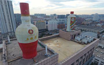 郑州写字楼顶现巨型酒瓶 市民:看看就醉了