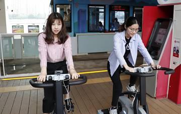 广州有轨电车:踩单车为站台发电
