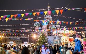 莫斯科市中心张灯结彩迎新年