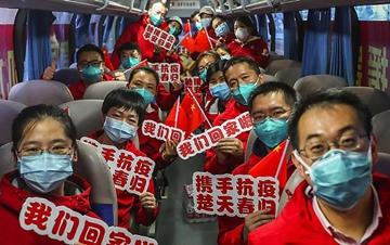 部分援鄂国家医疗队队员抵京