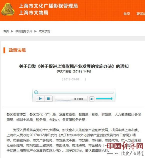 上海市发布促进影视产业发展实施办法