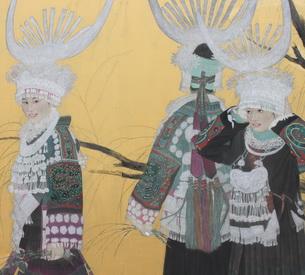 赖辉:贵州侗族大歌为题材的工笔人物画