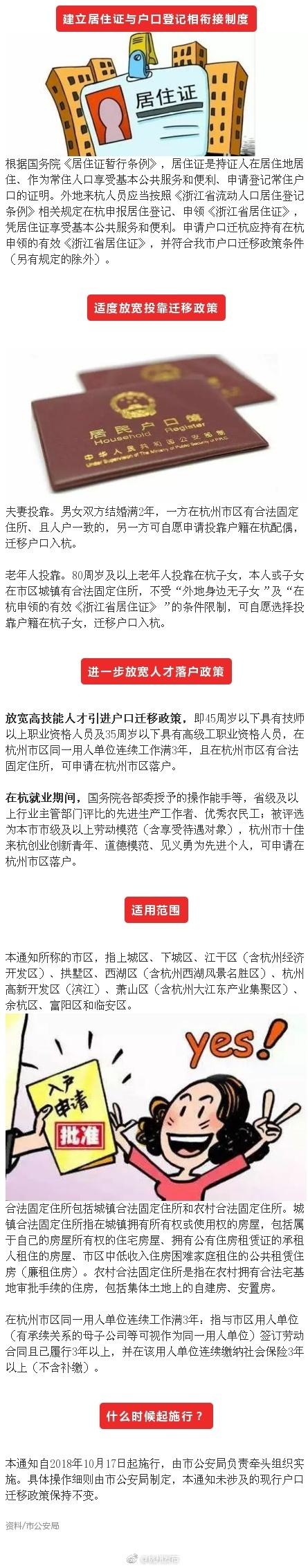 杭州落户政策将调整:两类投靠迁移政策适度放宽