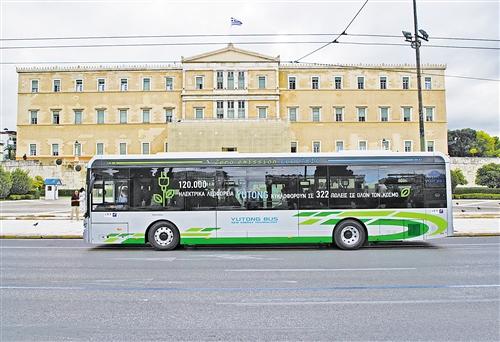 """""""中国造""""电动公交车驶上希腊街头"""