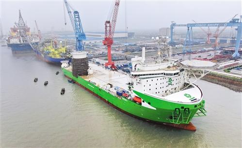 全球最大噸位風電安裝船出海試航 可運輸目前最重的單樁基礎、導管架基礎以及風機各部件