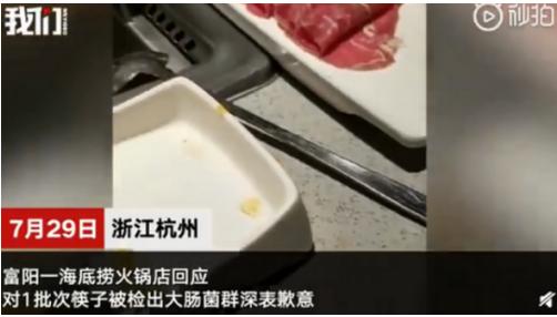 再曝食品安全问题 海底捞杭州一门店筷子检出大肠杆菌不合格