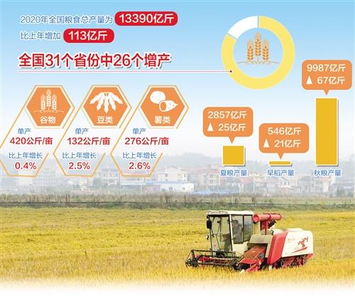 """我国粮食生产实现""""十七连丰"""" 产量连续6年保持在1.3万亿斤以上"""