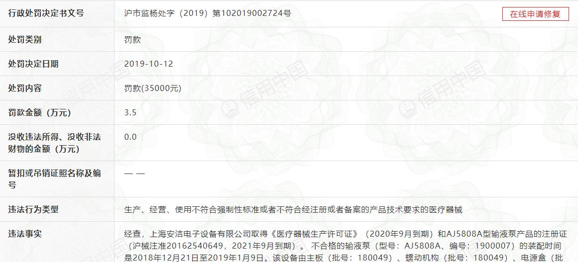 上海安洁电子输液泵抽检不合格 公司ANGEL系列输液泵位国内市场首位