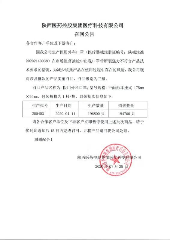 陕药集团全资子公司召回19余万只医用外科口罩