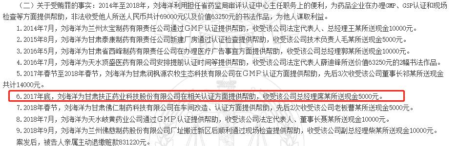 甘肃扶正药业涉贿案  子公司曾未认证就生产药品