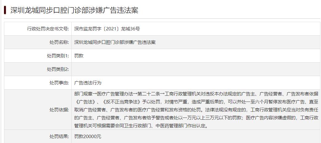 深圳龙城同步口腔门诊部因广告违法被罚2万元