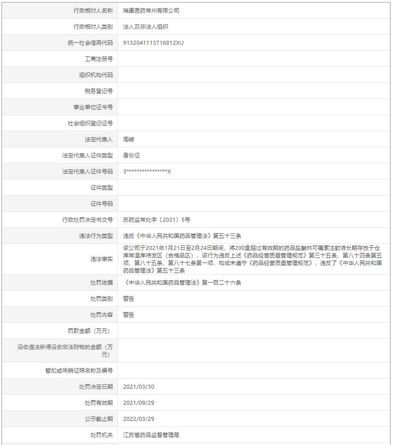 """瑞康医药旗下子公司""""违规存放过期药品""""被予以警告"""