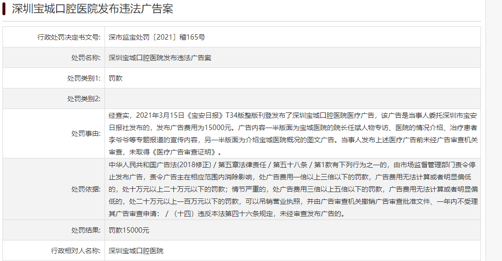 深圳宝城口腔医院因违反《广告法》被罚