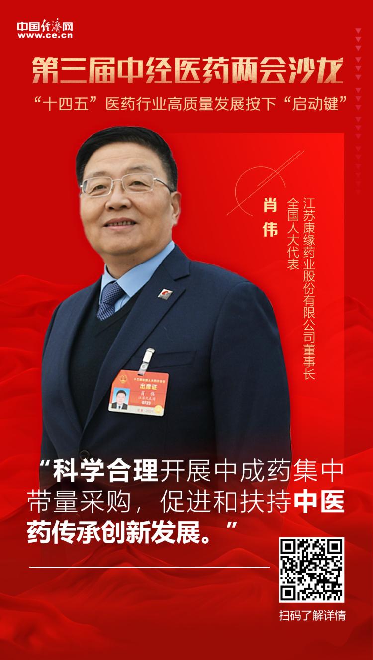全國人大代表、江蘇康緣藥業股份有限公司董事長肖偉
