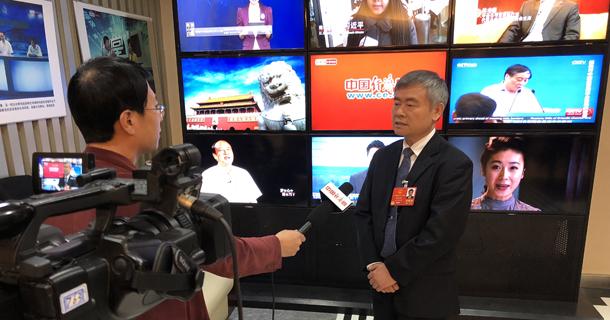 蔡继明代表接受记者采访