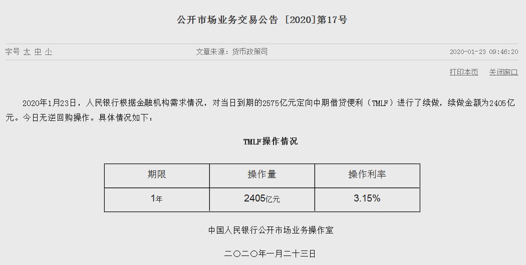 央行续作2405亿元TMLF:利率3.15%与此前持平