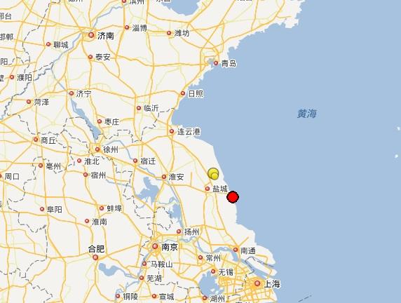 江苏盐城大丰区发生2.9级地震 震源深度15公里