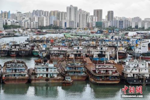 """台风""""塔拉斯""""逼近海南,船只回港避风。"""