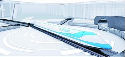 """资料图:""""高速飞行列车""""模拟图。"""