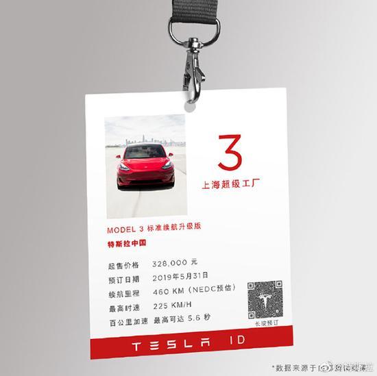 国产Model 3加入特斯拉大家庭,官方指导价为32.8万起