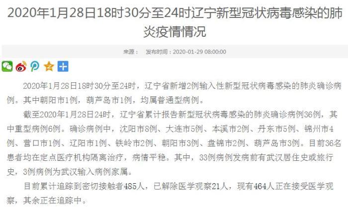 辽宁省新增2例新型冠状病毒感染的肺炎确诊病例
