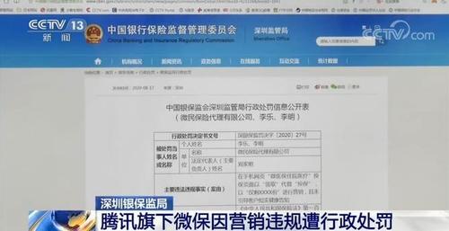 腾讯旗下微保因违规营销领12万元罚单