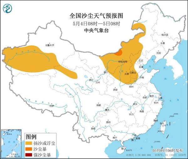 中央气象台发布沙尘暴蓝色预警 全国5省区部分地区有扬沙或浮尘