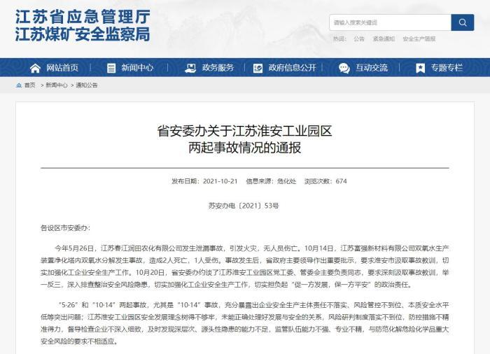 """江苏淮安工业园区""""10·14""""火灾事故致2死1伤 江苏省安委办约谈"""