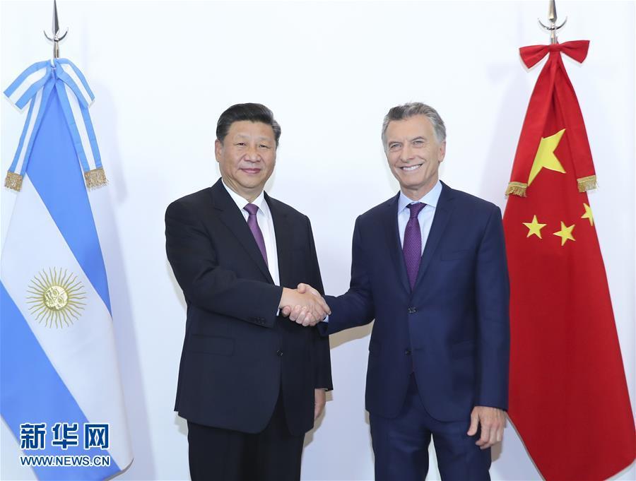 (时政)(1)习近平同阿根廷总统马克里举行会谈
