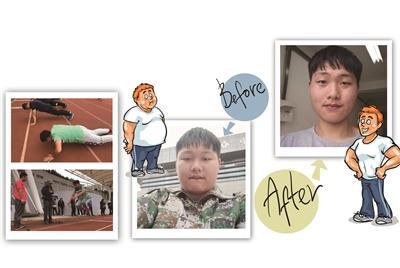 周老师带着学生上减脂课。   (减肥之前)   减肥前的吴秀扬220斤。   甩肉51斤后,小伙精神多了。
