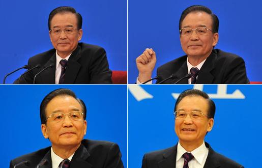 温家宝总理将会见中外记者--总理表情