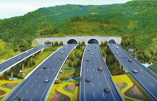 府机场高速公路龙泉山隧道开建