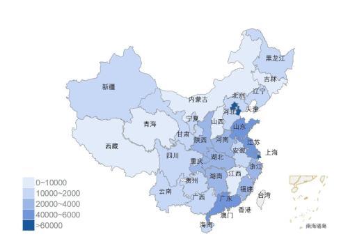 图3:全国12358价格监管平台各地区受理量分布