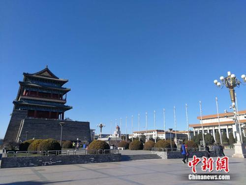 资料图:北京的蓝天。<a target='_blank' href='http://www.chinanews.com/' _fcksavedurl='http://www.chinanews.com/' >中新网</a>记者 张尼 摄