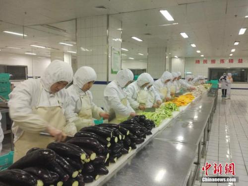 图为蔬菜加工车间。<a target='_blank' href='http://www.chinanews.com/' _fcksavedurl='http://www.chinanews.com/' >中新网</a>记者 张尼 摄