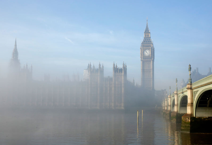 London shrouded by fog