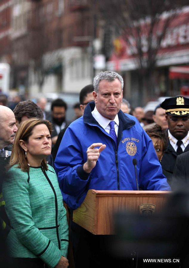 Mayor of NYC speaks at a news conference
