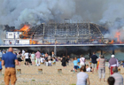 Fire rips through Eastbourne Pier in SE England