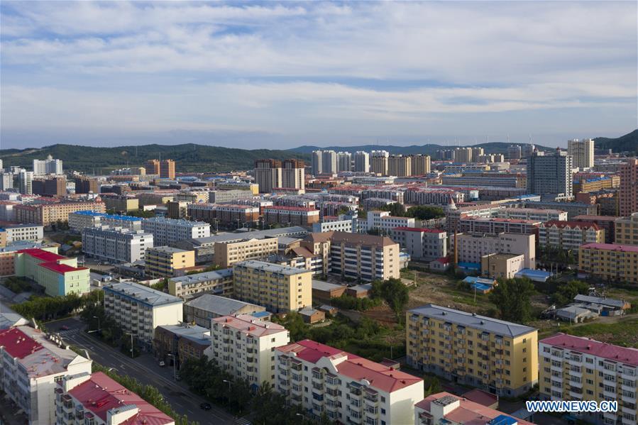Aerial view of Fuyuan City in Heilongjiang, NE China