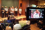 Officials of Malaysia Airlines speak to media in Kuala Lumper