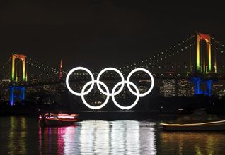 Olympic rings illuminated in Tokyo