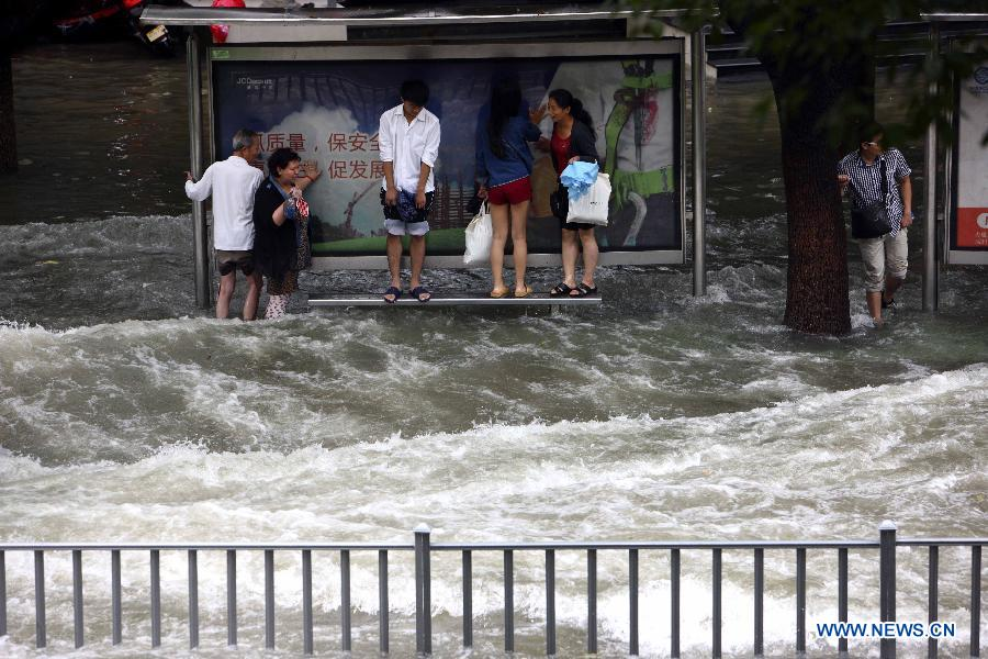 Rainfall brought by Typhoon Fitow caused waterlog