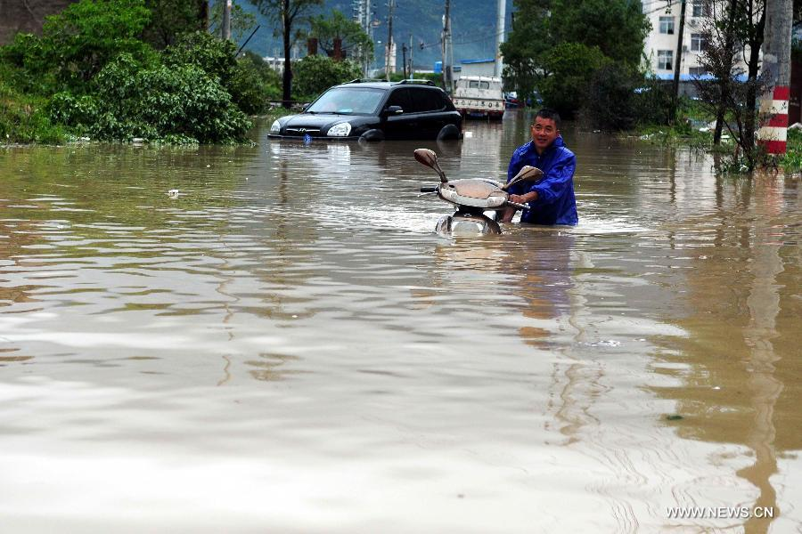 Typhoon Fitow brings torrential rainfalls to Zheji