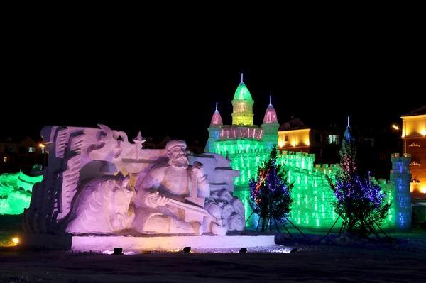 同台竞技,活力四射,为冬季的满洲里增添了一道亮丽的风景.
