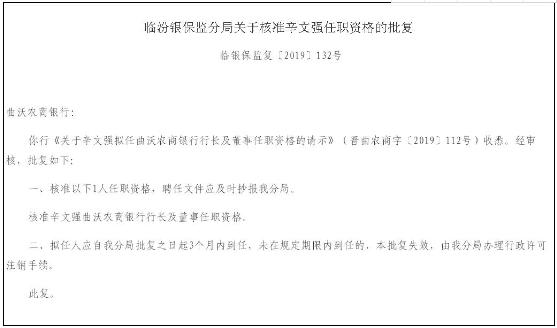 今日热搜榜排名: 山西曲沃农商银行行长、董事辛文强任职资格获批