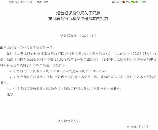 山东龙口农商银行第4次减少注册资本获批 5年间减少注册资本超5亿元