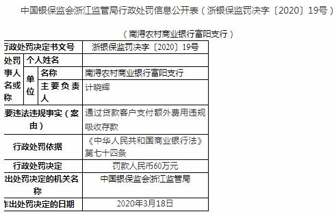 南潯農商行富陽支行通過貸款客戶額外付費吸收存款 被罰款人民幣60萬元