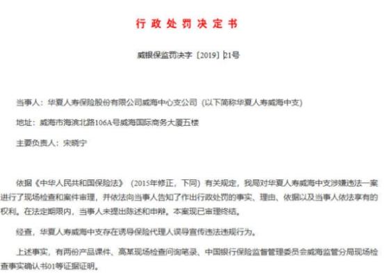 因误导宣传、妨碍现场检查等违规行为,华夏人寿收3罚单合计被罚66万
