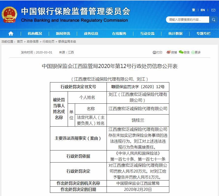 江西康宏泛诚保险代理存在未如实记录保险业务事项的违法违规行为被罚